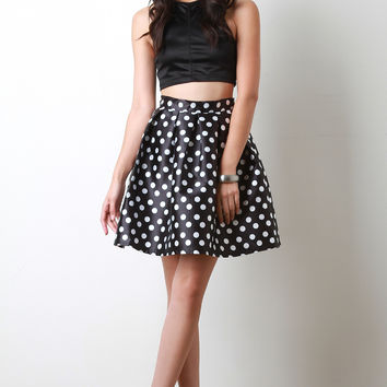 Polka Dot Box Pleated Skater Skirt