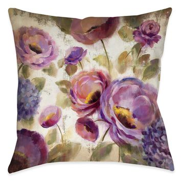 Blue and Purple Flower Song II Indoor Decorative Pillow
