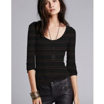 FREE PEOPLE Yarn Dye Stripe Nicest Slub Rib Layering Me Long Sleeve - Tops and Tees - Women