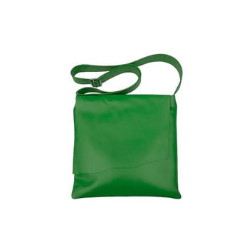Large Leather Rawhide Flap Crossbody Bag - Emerald Green