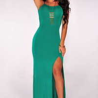 Green Knotted Cutout Back Maxi Dress