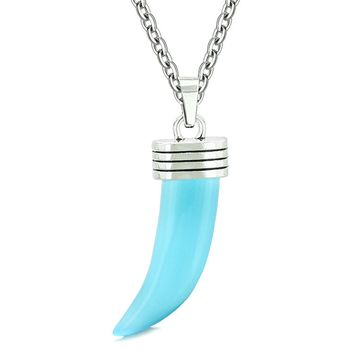 Italian Horn Pepper Protection Powers Tooth Amulet Sky Blue Simulated Cats Eye Lucky Charm 22 Inch Necklace