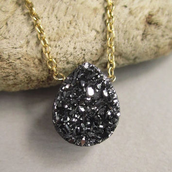 Black Druzy Necklace Titanium Drusy Quartz 14K GF Cable Chain