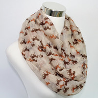 Horse Print Scarf, Beige Horse Scarf, Infinity Scarf with galloping horses, Animal Print Scarf, Spring or Summer Scarf for horse lovers