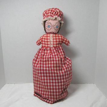 1970s Vintage Topsy Turvy Little Red Riding Hood Rag Doll, Grandma, and The Big Bad Wolf, Painted Faces, Red Gingham Dress, Dark Red Dress