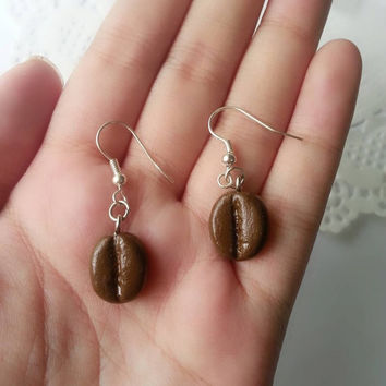 Coffee Beans Earrings - Polymer clay Charm, Polymer Clay Jewelry, Dangle Earrings, Polymer Clay Earrings, Polymer Clay Charm