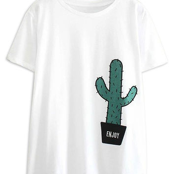 White Cactus Printed Short Sleeve T-shirt