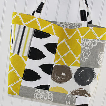 Modern Print Large Tote Bag in Mustard, Grey and Black, Patchwork Farmers Market Bag, MK150