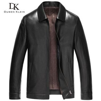 Dusen Klein Men Genuine Leather Jacket Outerwear Black/Slim/Simple Business Style/Sheepskin Coat 14Z6608