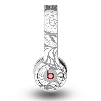 The Gray Floral Pattern V3 Skin for the Original Beats by Dre Wireless Headphones