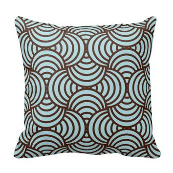 Art deco,scales,teal,brown,chic,trellis,pattern, throw pillows