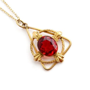 SALE - Antique Ruby Red Stone Necklace - Gold Filled Triangular Pendant Edwardian Jewelry / Faceted Oval