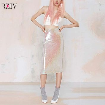Sweet pink retro sequined skirt elastic waist tight pencil skirts high pockets hip for women sexy skirts