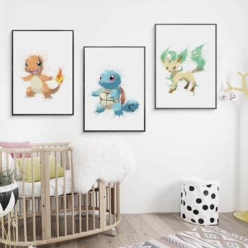Canvas Painting Picture Decoration Splash Abstract Watercolor  Pikachu A4 Wall Art Painting Print Poster Home DecorationKawaii Pokemon go  AT_89_9