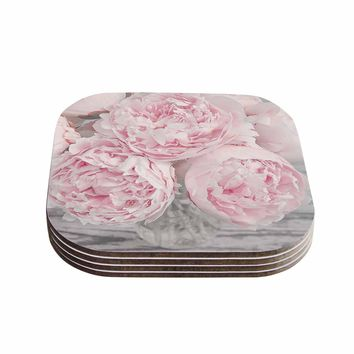 "Suzanne Harford ""Pink Peony Flowers"" Floral Photography Coasters (Set of 4) -Outlet Item"