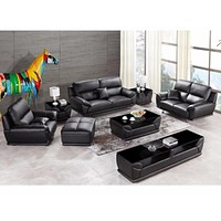 Modern Leather Sectional Sofa Group Side Table+Coffee Table+TV Cabinet+Ottoman