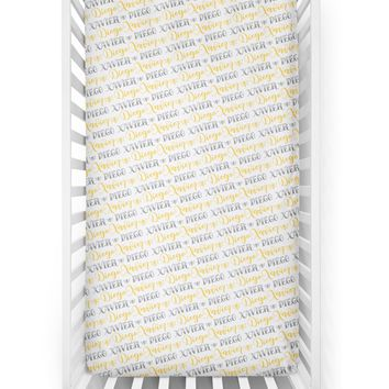 Crib sheet - Bee pattern with two custom colors