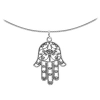 Intricate Silver Hamsa Hand Pendant Choker Necklace | Body Candy Body Jewelry