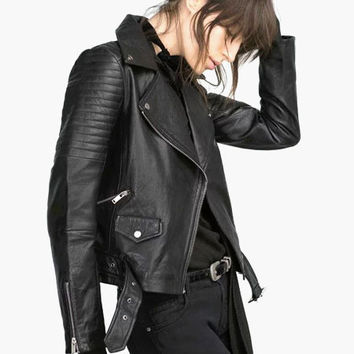 Black Notched Collar Zip-up Belted Leather Jacket
