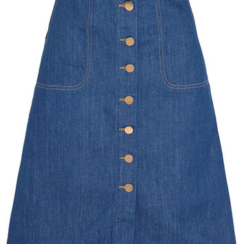 MiH Jeans - The Midi Button Through stretch-denim skirt