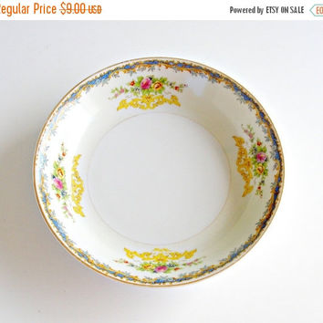 SALE Vintage Kikusui Fine China Soup Bowl, 1940s Noritake Style Soup Bowl, Mid Century Japanese China Plate, Hand Painted Floral, Gilt