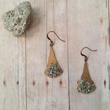 Teardrop Earrings, Brass Earromgs, Pyrite Earrings, Nickel Free Earrings, Boho Chic Earrings, Fall 2015, Statement Earrings