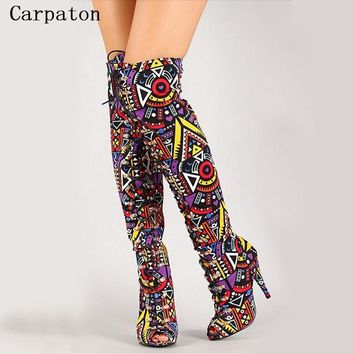 Elegant Multicolor Mixed Color Tribal Lace-Up Peep Toe Thigh High Boot