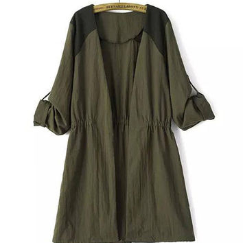 Green Drawstring Waist Draped Sleeves Coat