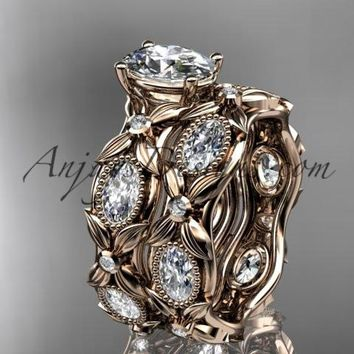 "14kt rose gold diamond leaf and vine wedding ring, engagement set with a ""Forever One"" Moissanite center stone ADLR152S"