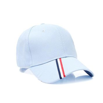 Sports Hat Cap trendy  Snapback Men and women striped baseball caps autumn and winter Korean version of the outdoor light board sports duck tongue hats KO_16_1