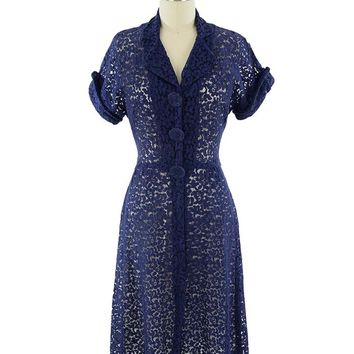 1940s Sheer Navy Blue Lace Dress