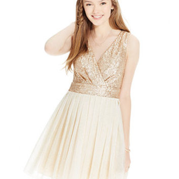Speechless Juniors' Sequined Pleated-Skirt Fit-and-Flare Dress