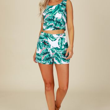 Palm Leaf Print Shorts White