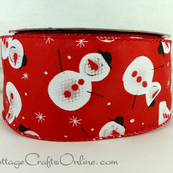 "Christmas Wired Ribbon, 2 1/2"" Snowman Print Red Satin - THREE YARDS - Offray  ""Snowmen's Party"" Wired Edge Ribbon"
