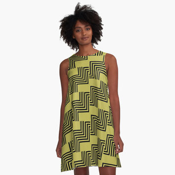 'Black geometric line art, modern stripes pattern' A-Line Dress by cool-shirts