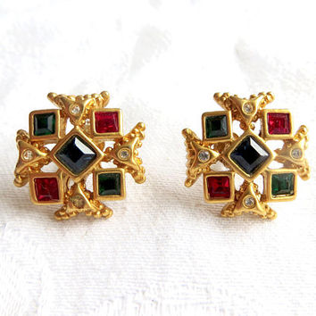 Vintage Maltese Cross Earrings Pierced Ears Moghul Glass Jewels Malta Cross Jewelry