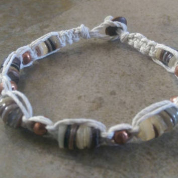 Men's Hemp Bracelet, Copper Beads, Shell Beads, White Hemp, Everyday Jewelry, Men's Jewelry, Gift for Him, Free USA Shipping