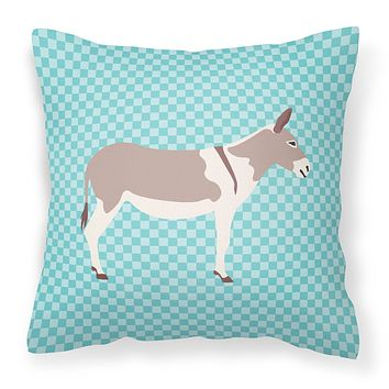 Australian Teamster Donkey Blue Check Fabric Decorative Pillow BB8020PW1414