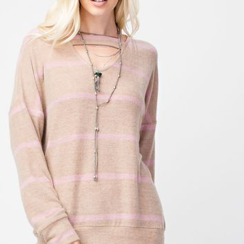 Striped Brush Knit Top