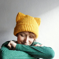 Cat Ears Hat, Knit Cat Ear Beanie, Cat Beanie, Cat Hat, Chunky Knit, Mustard Yellow, Winter Accessories,Holiday Fashion, Gift under 25