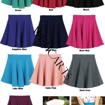 Women Candy Color Stretch Waist Plain Skater Flared Pleated Mini Skirt 15411 = 1947052164