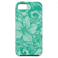 Floral Flow- Teal- iPhone 5 Cases