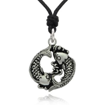 Pisces Fish Yin Yang Astrology Silver Pewter Charm Necklace Pendant Jewelry With Cotton Cord