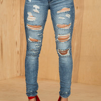 Distressed Vintage Wash Skinny Jeans- FINAL SALE