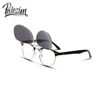 PATEZIM Pilot Myopia Clip on Polarized Sunglasses For Men Women Flip Up Clip Sunglasses Brand Designer Driving Goggles