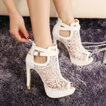 Women's Fashion Sexy Lace Hollow Fish Mouth Fine High Heel Cool Boots Shoes