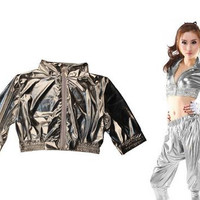 New Fashion Women Coat Jazz ds Hip Hop dance costume outwear Performance Costume Dancer Coat Ultra-short Silver Jacket
