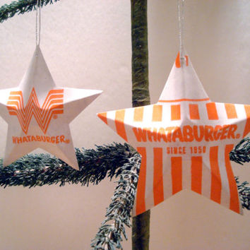 Whataburger Recycled Aluminum Stars - Set of Four Handmade Christmas Ornaments or Gift Toppers - Pop Culture Junk Food Decor
