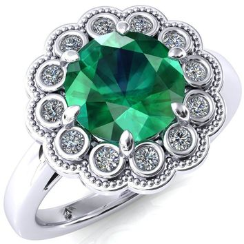 Zinnia Round Emerald 6 Prong Milgrain Diamond Halo Cathedral Engagement Ring
