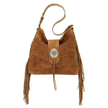 American West Soft Slouchy Fringe Hobo Shoulder Bag Tan